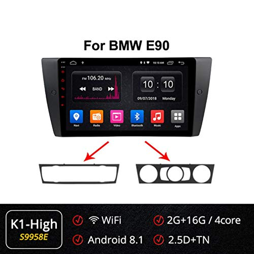 Best Price XBRMMM Android 9.0 9″ Car Stereo Sat Nav Navigation 2 Din for BMW E90 E91 E92 E93 Support Bluetooth WiFi SWC A2DP RDS FM/AM DAB+ DVB-T2 OBD TPMS PX6 4GB RAM+32GB ROM, 2.5D IPS Nano Screen
