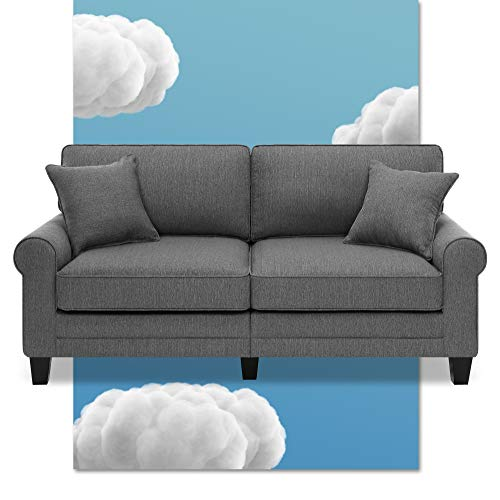 """Serta Copenhagen 78"""" Sofa - Pillowed Back Cushions and Rounded Arms, Durable Modern Upholstered Fabric - Dark Gray"""