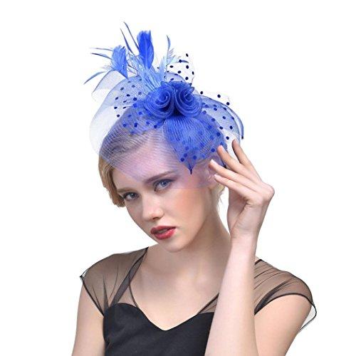 Dinglong Accessoires De Cheveux, Femmes Fleur Maille Vintage Party Bandeau Rubans Plumes Bandeau Cocktail Tea Party Chapeau Chapeaux (Bleu foncé)