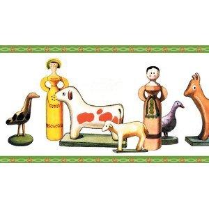 Kinder Tapetenbordüre - fröhliche Kinderzimmer Tapetenborte mit Puppen und Pferden, 1 x 5m; preisreduziert aus Lagerbestand