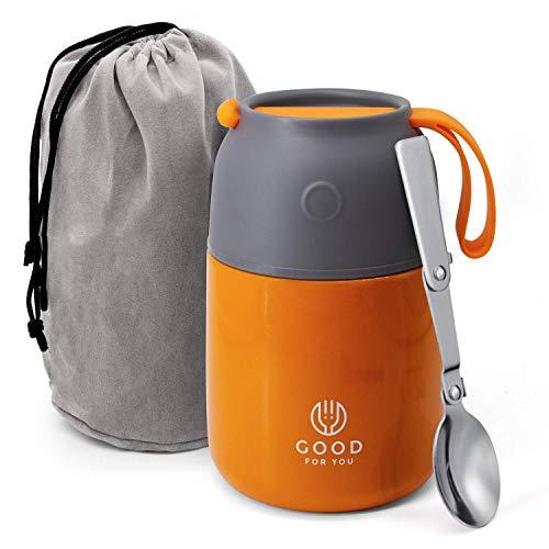 Thermos alimentaire de Good For You - Boîte à repas inoxydable pour repas chauds ou froids - Boîte à lunch pour école, bureau, camping - Isolation double parois avec cuillère pliable et sac - Orange