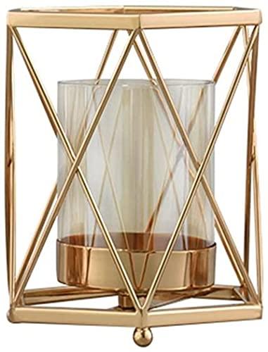 Soporte de Vela de Oro Cuadrado geométrico Hierro Forjado Decoración de la Vela de la Vela de la aromaterapia Soporte de la Vela de la Vela Props (Tamaño: 11.5 x 14.5cm)