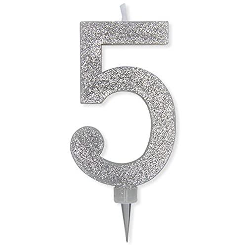 Candela per Compleanno da Torta n°5 in Cera con Glitter Argento 15 cm Festa Bambini (5)