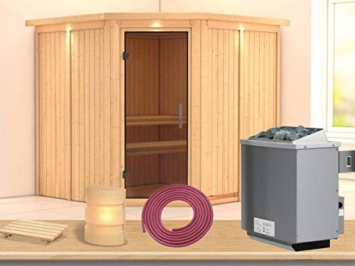 SAUNELLA Sauna mit Ofen | Gartensauna - Saunakabine Maße: 210 x 210 x 202 cm | Saunaofen Komplett Sauna Zubehör | Saunaofen mit int. Steuerung