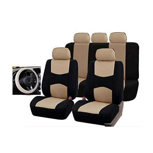 GODGETS Coprisedili Auto Universali Set Completo con Copri Volante - Coprisedili per Auto Anteriori e Posteriori - 4 Colori Disponibili,Nero Beige,5 * Posti + 1 * Coprivolante