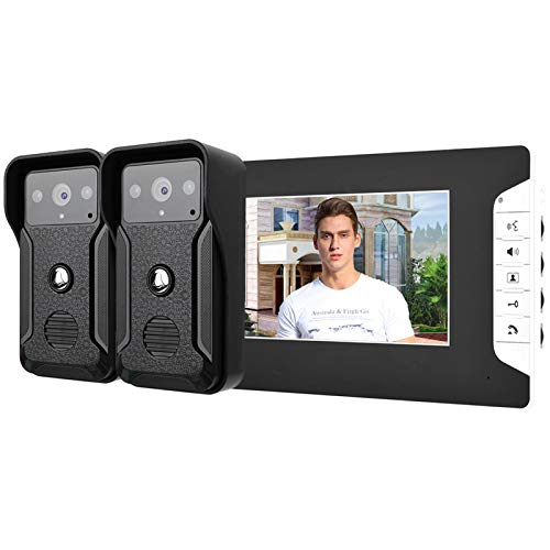 zcyg Timbre Timbre para Puerta Timbre con Cable De Video, 7'Wired Video Doorbell Door Teléfono Intercomiso Night Night Vision Smart Security Doorbell Kit