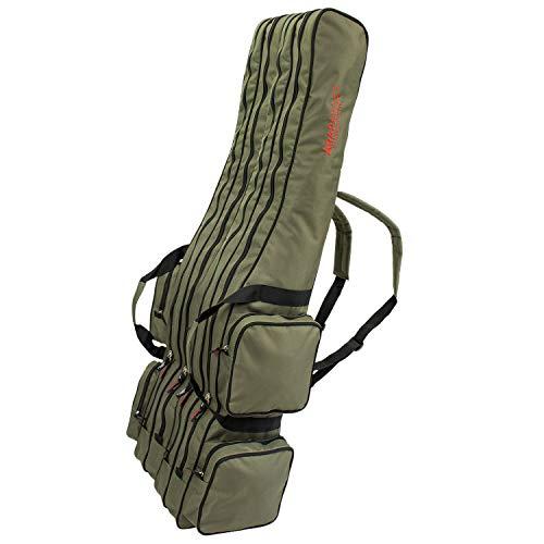 Angel Tasche Futteral Rutentasche Fishing Rucksack - Oliv 4 Innenfächer - 170 cm