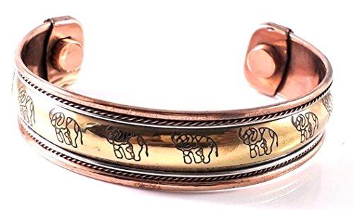 Pulsera de cobre con diseño de elefante de fórmula de 3 metales, pulsera curativa para hombres y mujeres para ser eficaz y natural
