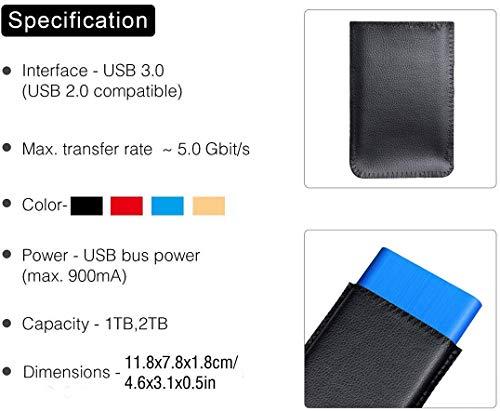 Disco duro externo portátil de 1 TB/2 TB - Almacenamiento externo HDD USB 3.0 para PC, Mac, portátil y Smart TV (2 TB, azul) miniatura