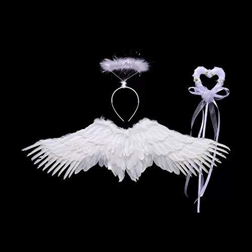 thematys Juego de 3 Piezas de Disfraz de ángel para niños en 2 Colores Diferentes - alas, Cinta para el Pelo y Varita mágica Carnaval y el Cosplay. (Blanco)