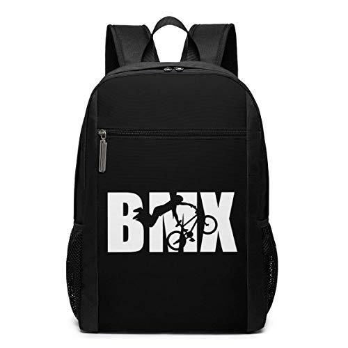 BMX Word with Silhouette 17 Zoll Travel Laptop Rucksack für Damen & Herren (schwarz)