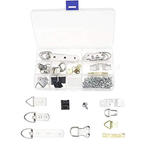 YINETTECH 96 stks foto Hanger haken kit met plastic doos voor thuis kantoor schilderij opknoping zwart gouden zilver