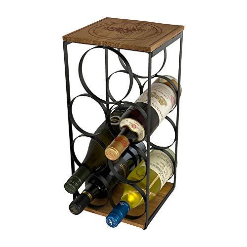Iron and Wood Countertop Wine Rack - Stores 7 Wine Bottles – Iron and Wood Wine Stand – Wine Bottle Holder - Farmhouse Decor Kitchen Storage Counter top Wine Rack