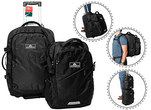 Hypath 2-in-1 Convertible Travel Bag - Use as Backpack, Wheeled Carry On, or Stacked Luggage