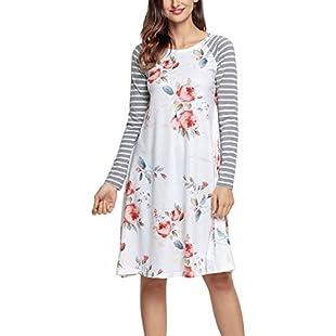 Nicetage Ladies Casual Floral Print Stripe Sleeve Dress Loose T-Shirt Dress 61670(White, M)