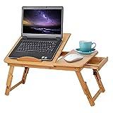 Ejoyous Mesa para ordenador portátil como bandeja para cama o sofá de madera, altura regulable, con cajón, mesa de cama para lectura o desayuno y dibujos, soporte para tablet plegable