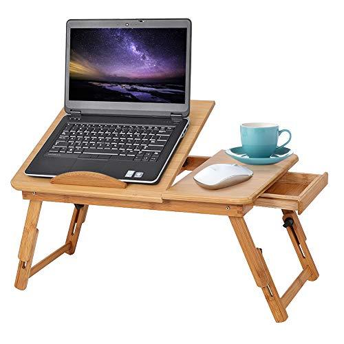 Tavolino PC Letto, Tavolo per laptop ad altezza regolabile con cassetto, scrivania per computer pieghevole in bambù, Tavolino da Letto per PC con Top Ventola di Raffreddamento Cassetto, 50 x 30 x 20cm