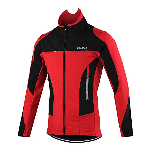 Lixada Herren Fahrradtrikot Anzug Winter Thermo Winddicht Wasserdicht Langarm Mountainbike Rennrad Jacken - Rot - Medium