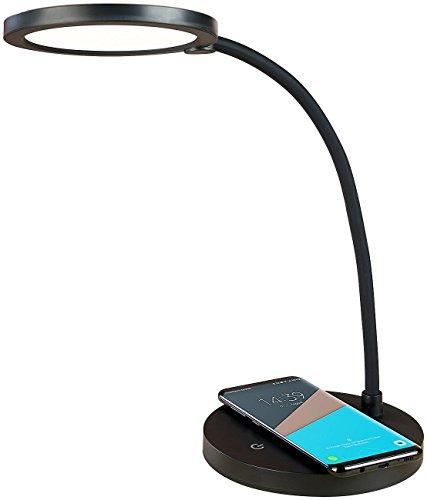 Lunartec Nachttischlampe Qi: Dimmbare COB-LED-Schreibtischlampe, Ladestation, Qi-kompatibel, 400 lm (Qi Lampe)