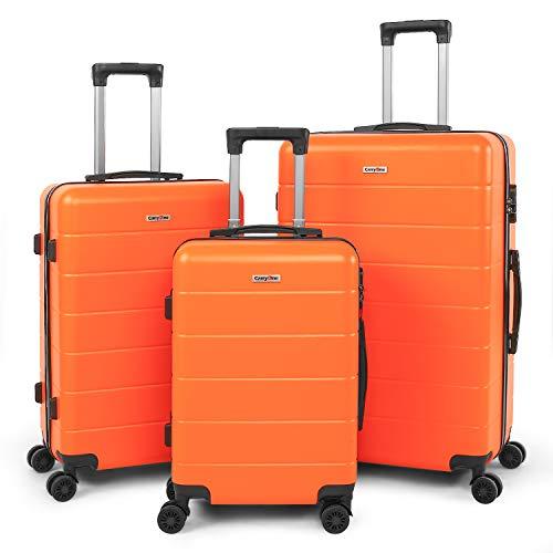 CarryOne Equipaje Juego de 3 Piezas Maleta Ligero | 4 Ruedas Giratorias Silenciosas de Doble | Candado Numérica | 20in24in28in para Vacaciones Viaje-19TC1-Naranja
