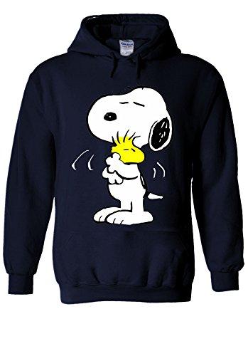 Snoopy Peanuts Cartoon Happy Cute Navy Men Women Unisex Hooded Sweatshirt Hoodie-XL
