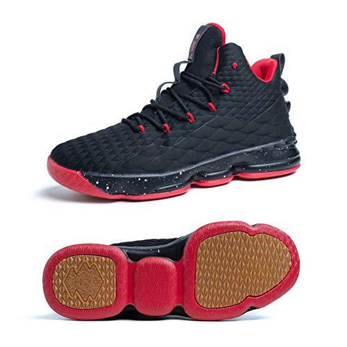 Zapatos Hombre Deporte de Baloncesto Sneakers de Malla para Correr Zapatillas Antideslizantes Negro Rojo Champán Verde Brillante 36-46 Negro Rojo 37