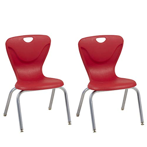 FDP 16' Contour School Stacking Student Chair, Ergonomic Molded Seat Shell with Powder Coated Silver Frame and Swivel Leg Glides; for in-Home Learning, Classroom or Office - Red (2-Pack)
