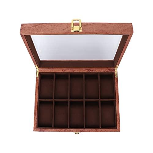 Tenpac Vitrina de joyería, Caja de exhibición de Reloj portátil de Madera de 10.43 x 7.87 x 3.15 Pulgadas Caja de Reloj Caja de Almacenamiento de Reloj para Oficina para el hogar para Hotel para
