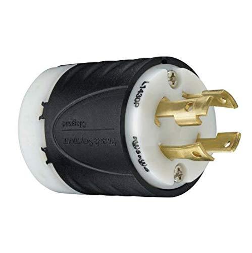 Legrand - Pass & Seymour L1430PCCV3 Industrial-Strength NEMA L14-30P Turnlok Locking Plug | Generator Plug 30A, 125/250 Volt | IP20 Suitability, 4-Wire