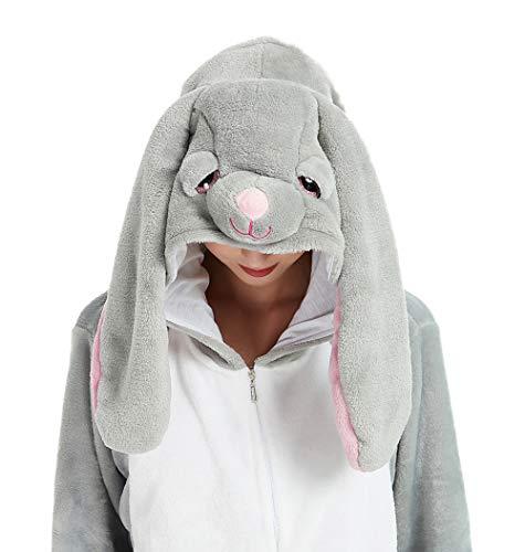 ABENCA Easter Bunny Onesie Pajamas for Unisex Adult Cartoon One Piece Animal Rabbit Halloween Christmas Cosplay Costume.Bunny.L