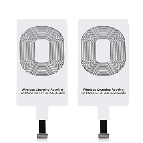 EtoBesy Qi Wireless Charger Receiver, Ultra Thin Charging Adapter Receptor Receiver Mini Slim Patch Module Chip for iPhone 7 7Plus, iPhone 6 6Plus, iPhone 5 5s 5c SE (2 Packs)