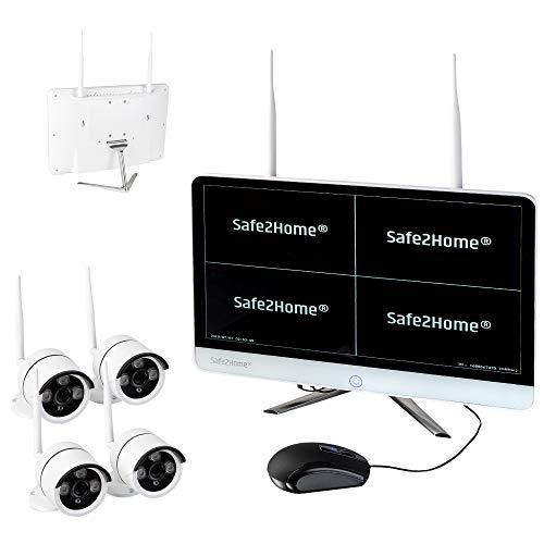 Safe2Home® Funk Überwachungskamera Set deutsch - 4X Full HD Cam Nachtsicht – Kamera Set Monitor inkl Rekorder – Videoüberwachung kabellos innen - außen Kameras 2,4 GhZ