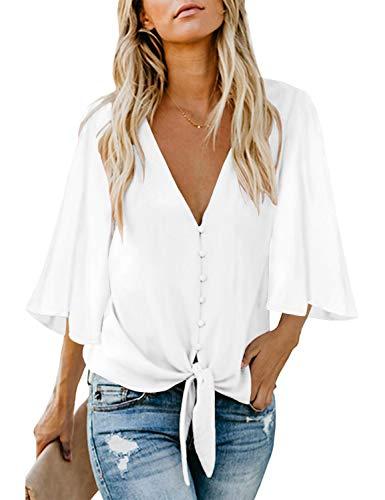 luvamia Women's V Neck Tops Ruffle 3/4 Sleeve Tie Knot Blouses Button Down Shirts, A A WhiteButton Down Size S