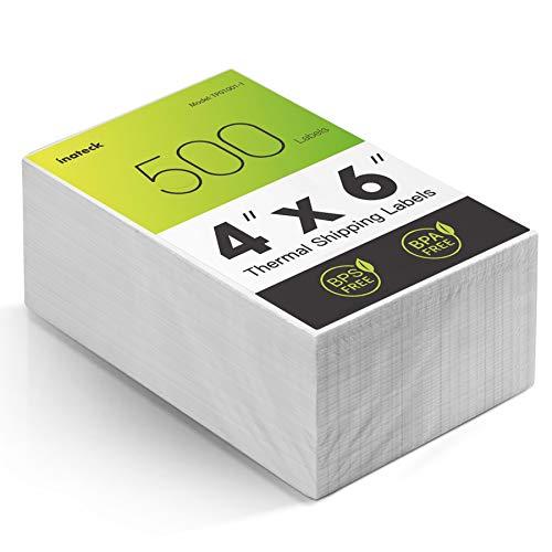 Inateck Thermopapier Versandetiketten, 4 × 6 Zoll (100 mm × 150 mm), Wasserfester Versandaufkleber, BPA/BPS-frei,500 Stück