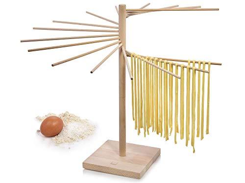 Sänger Pastatrockner aus Holz – Demontierbarer XXL Nudeltrockner zum Trocknen für selbstgemachte Pasta, Pastabaum mit einer Gesamthöhe von 50 cm und 16 abnehmbaren Armen, Armlänge 30 cm