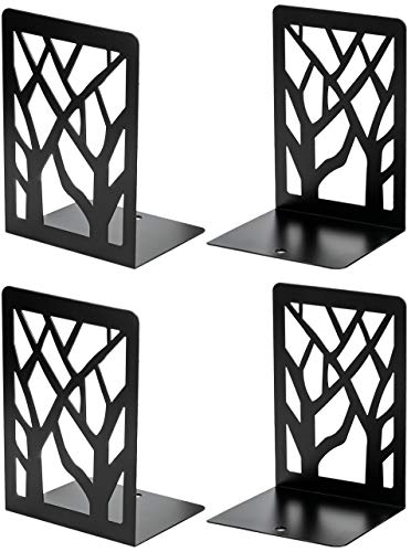 MaxGear Book Ends, Bookends, Book Ends for Shelves, Bookends for Shelves, Bookend,Book Ends for Heavy Books,Book Shelf Holder Home Decorative,7x4.7x3.5 in,Metal Bookends Black(2 Pairs/4 Pieces,Large)