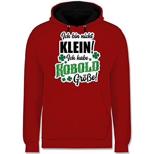 St. Patricks Day - Kobold Größe - L - Rot/Schwarz - Spruch - JH003 - Hoodie zweifarbig und Kapuzenpullover für Herren und Damen