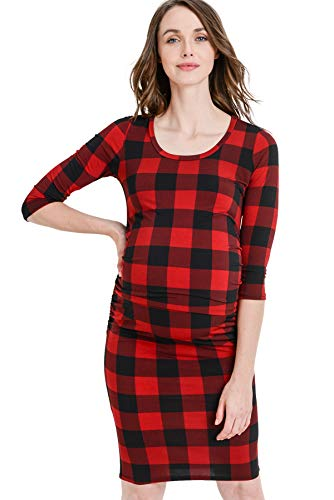 LaClef Women's Ruched Bodycon Basic Maternity Dress (Red/Black Plaid, XL)
