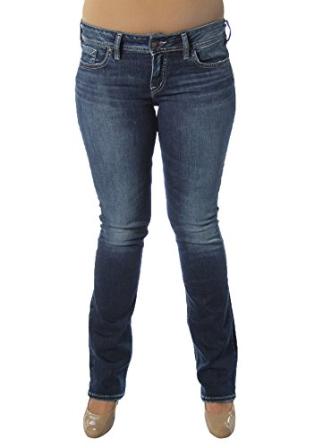 Silver Jeans Co. Damen Elyse Relaxed Fit Mid Rise Slim Bootcut Jeans, Dark Heritage Wash, 27W x 31L