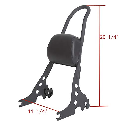 Passenger Backrest Pad Sissy Bar Cushion For Harley Sportster XL XLH 883 1200 Black