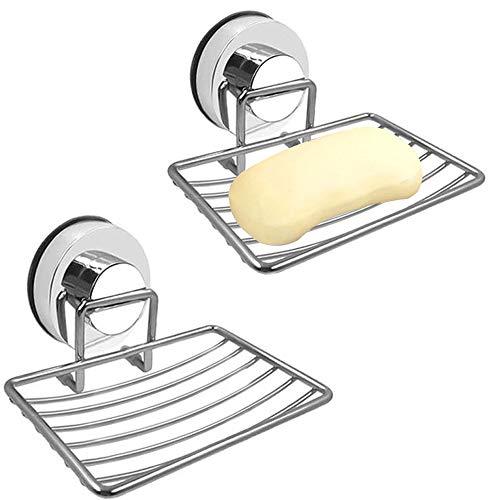 Gute - Jabonera de acero inoxidable, soporte para jabón, soporte de pared al vacío, ventosa de drenaje a prueba de óxido, para ducha, baño o cocina, 2 unidades