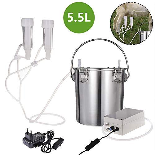 Ordeñadora eléctrica de 5.5L Bomba de pulso de vacío portátil Dispositivo de ordeño de vacas, extractor de leche de acero inoxidable Bomba de vacío de succión doméstica ajustable para vaca cabra oveja