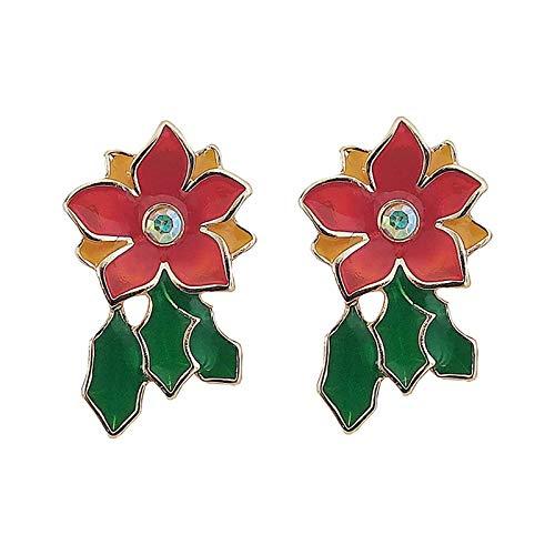 CHENYUXIA Pendientes de flores rojas y hojas verdes, pendientes creativos, joyas personalizadas, regalo de cumpleaños