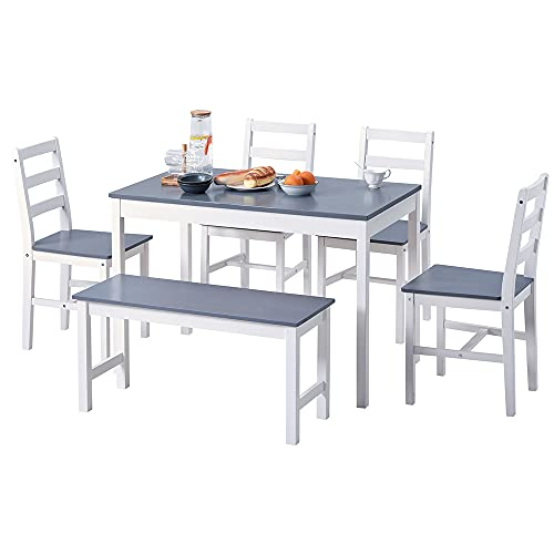 Dining Table and Chairs Set 6 Dining Room Sets with 1 Table & 4 Chair & 1 Bench Solid Pine Wood Space Saving Table and Chairs 6 Seater Dinner Table Kitchen Table and Chairs Set for Home (Grey & White)