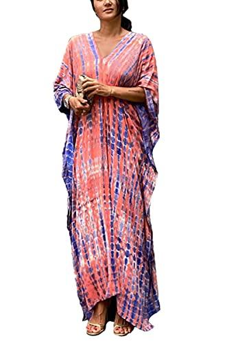 LikeJump Donna Bohémien Vestito da Spiaggia Maxi Kimono Abito Copricostume Kaftan Bikini Cover ups