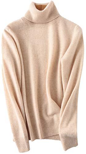 PHELEAD Damen 100% Merinowolle Pullover Winterpullover mit hohem Stehkragen aus Langarm Rollkragenpullover Slim warm Strick Sweater (S, Beige)