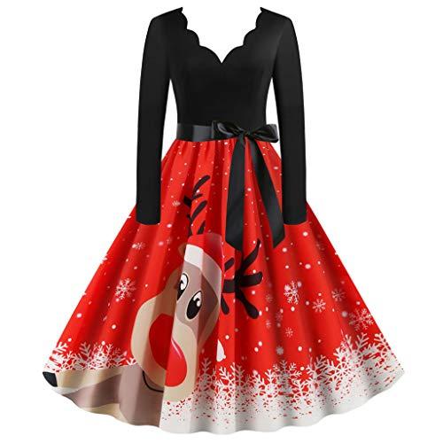 QingJiu Damen V-Ausschnitt Drucken Weihnachtskleid Weihnachtsdeko Cocktailkleid Pullover Kleider Spitze Kleidung Weihnachtsmann Elch Schlitten Party Swing Festlich Kleid