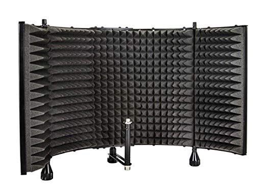 "Monoprice Microphone Isolation Shield - Black - Foldable With 3/8"" Mic Threaded Mount, High Density Absorbing Foam Front & Vented Metal Back Plate - Stage Right (Renewed)"