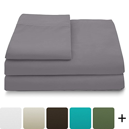 Cosy House Collection Luxury Bamboo Bed Sheet Set - Hypoallergenic Bedding Blend from Natural Bamboo Fiber - Resists Wrinkles - 4 Piece - 1 Fitted Sheet, 1 Flat, 2 Pillowcases - Cal King, Grey