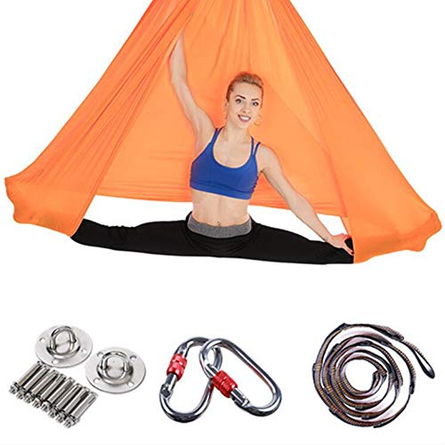 Viktion Authentisch Anti Gravity Yoga Hängematte Aerial Yogatuch Set für Yoga Fitness Orange